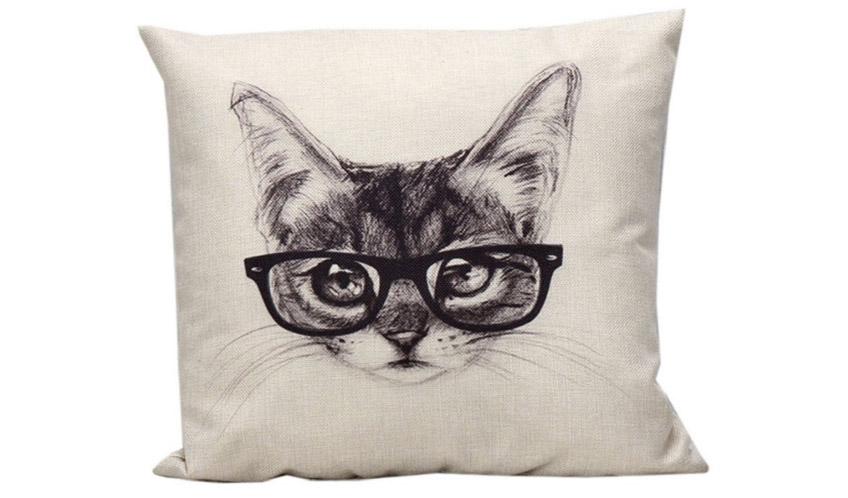 Párna szemüveges macskával